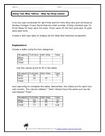 using two way tables worksheets