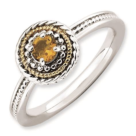 carinagems stackable silver ring 14k citrine