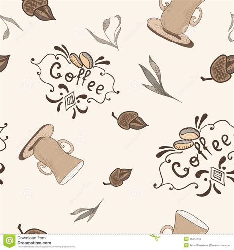 coffee style wallpaper vector coffee pattern in sketch style stock vector image