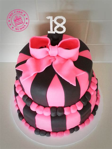 18th Birthday Cakes by Pink And Black Themed 18th Birthday Cake Chocolate Cake