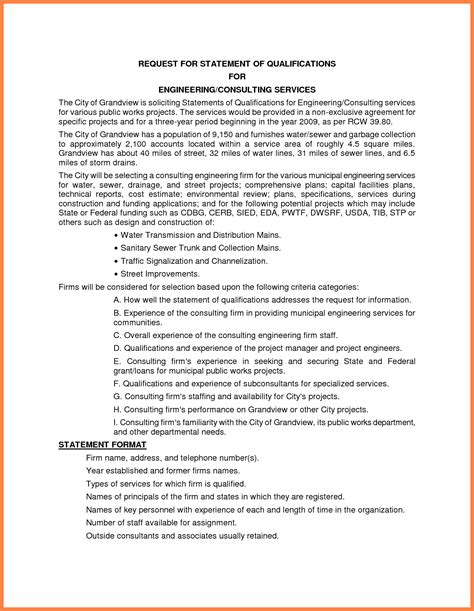 statement of qualifications template 10 sle statement of qualifications registration