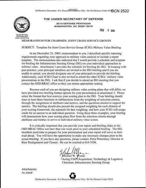 briefing memo template memorandum for chairmen joint cross service groups