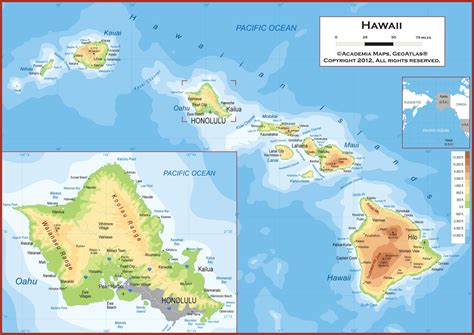 map of hi hawaii physical state map