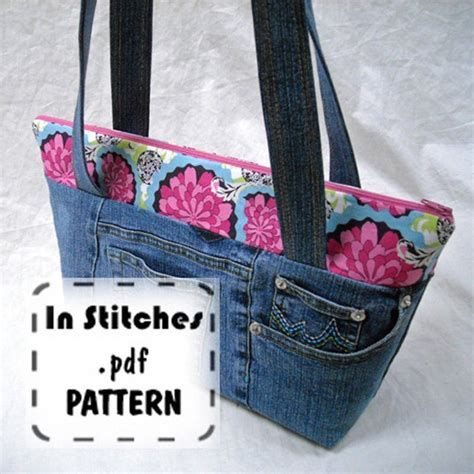 homemade tote bag pattern zipper shoulder pdf purse pattern easy zippy tote tutorial