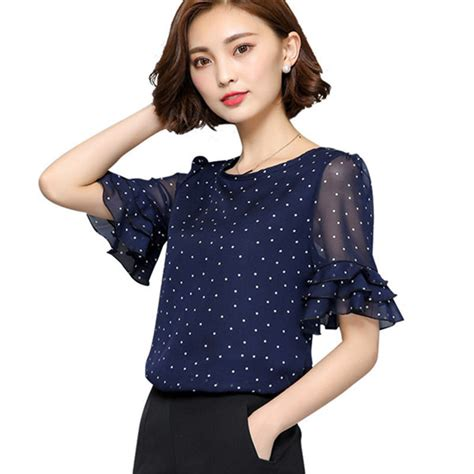 New Blouse 1 aliexpress buy new 2018 summer blouse ruffles sleeve chiffon blouses polka dot