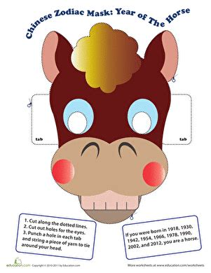printable chinese new year mask make a chinese zodiac mask year of the horse worksheet
