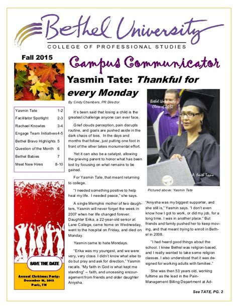 Uwt Mba And Summer News Letter by Fall 2015 Employee Newsletter