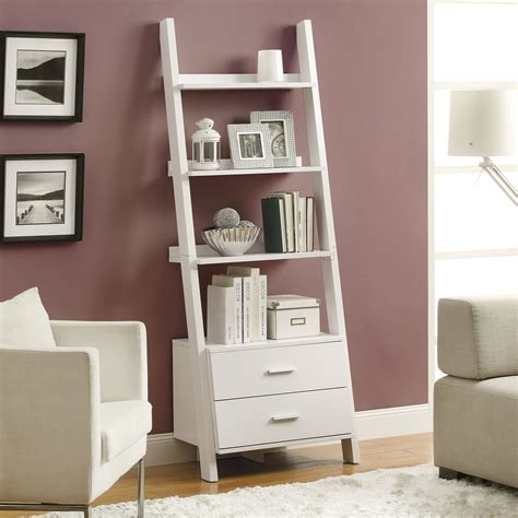 white bookcase with drawers monarch 69 in ladder bookcase with 2 storage drawers
