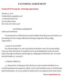 invoice discounting agreement template factoring agreement sle factoring agreement template