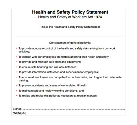 work health and safety policy templates sle safety statement template 9 free documents in pdf