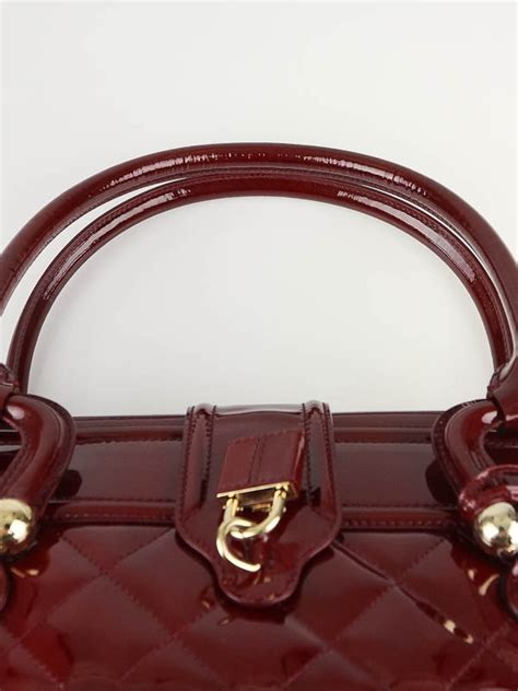 Burberry Icons Quilted Grand Manor Tote by Burberry Burgundy Patent Leather Grande Manor Bag Yoogi