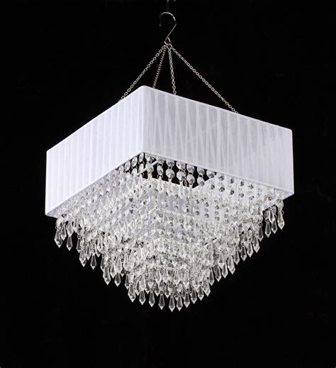 White Acrylic Chandelier White Fabric Square Clear Beaded Chandelier That Bohemian