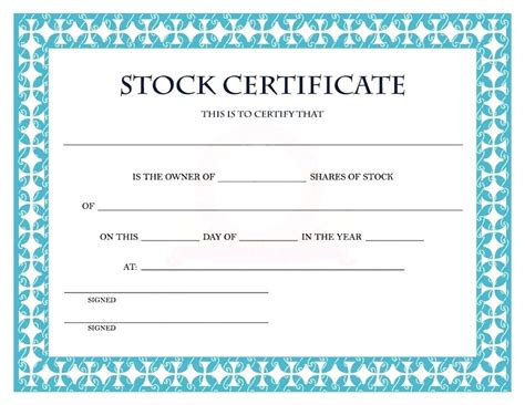 shareholders certificate template free shareholder certificate template template register