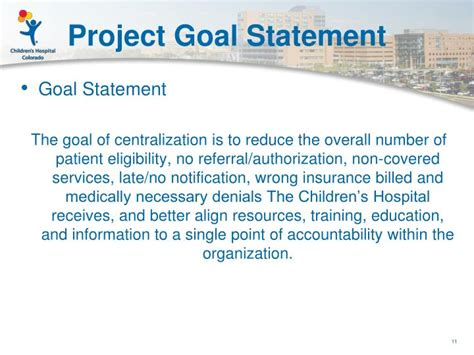project objective statement ppt about children s hospital colorado powerpoint