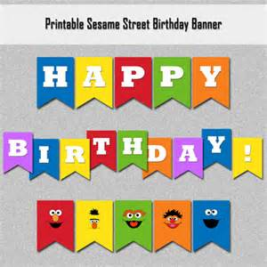 sesame street inspired happy birthday banner printable