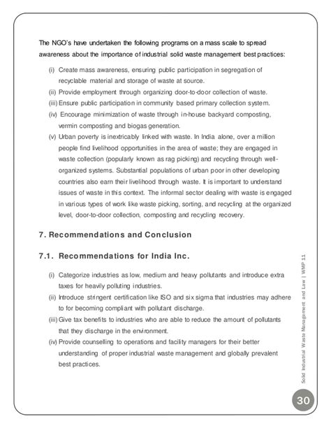 Mba Project Report On Ngo by Solid Industrial Waste Management Mba Project Report