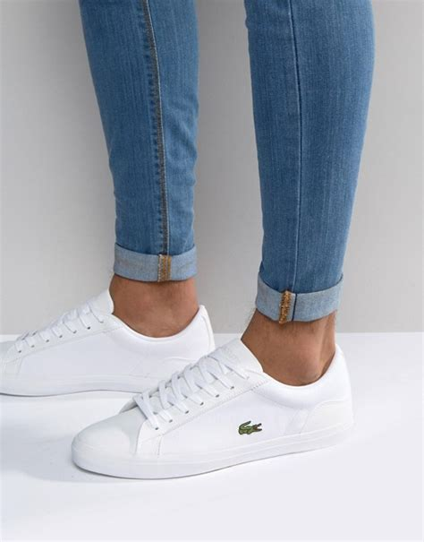 Lacoste Lerond Trainers In White lacoste lacoste lerond canvas trainers in white