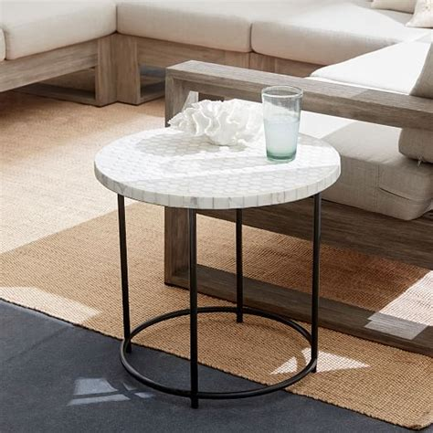 white top side table mosaic tiled side table white marble top metal base