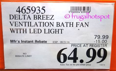 costco bathroom fan costco sale delta breez ventilation bath fan 59 99