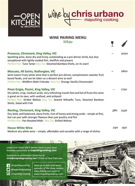 Mc Kitchen Menu by Wines By Chris Urbano Restaurant Introducing Open