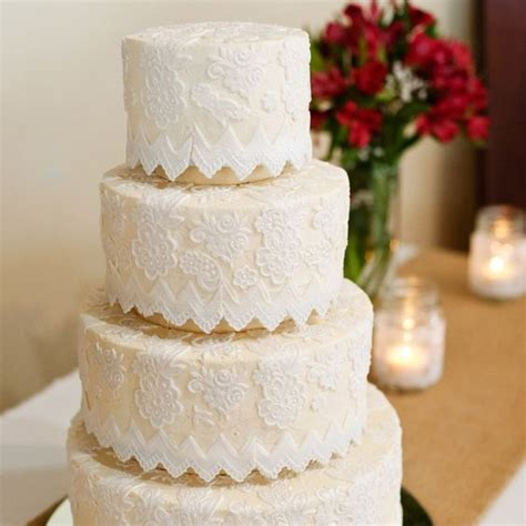 Detailed Wedding Cakes by Lace Detailed Wedding Cake Photo By Kristi Wright
