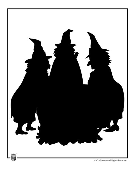 witch silhouette template printable templates witches cauldron