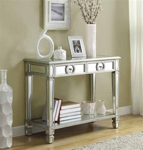 Mirrored Table L Monarch Specialties Mirrored 38l Sofa Console Table With Drawers