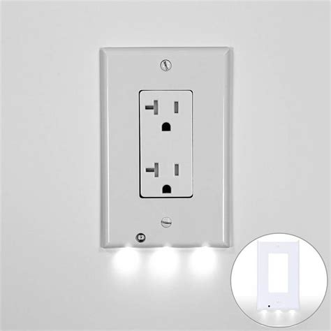 wall outlet coverplate led cover light sensor