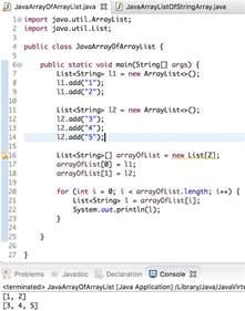 java array of arraylist arraylist of array journaldev