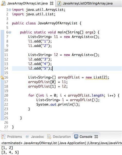 tutorial java array java array of arraylist arraylist of array journaldev