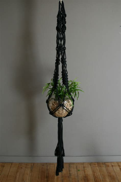 Macrame Knots For Plant Hangers - mr big black macrame plant hanger the knot studio