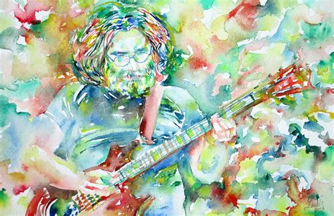 Guitar Duvet Cover Jerry Garcia Playing The Guitar Watercolor Portrait 3