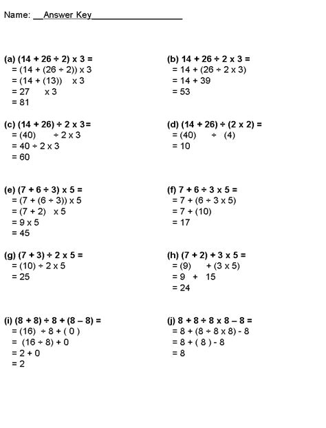 math worksheets grade 7 bedmas 15 best images of order of operations with fractions