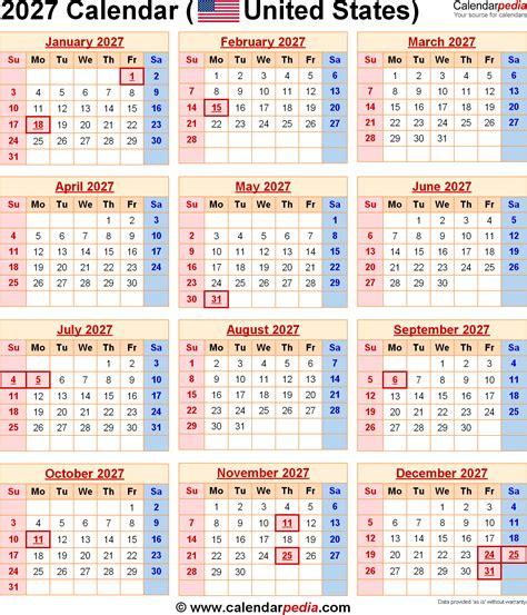 Calendar Calendar 2027 Calendar For The Usa With Us Federal Holidays