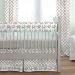 baby elephant crib bedding taupe and mint elephants crib bedding carousel designs