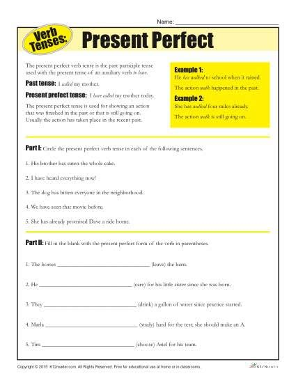 verb tense worksheets past perfect verb tense worksheets present perfect homeschool