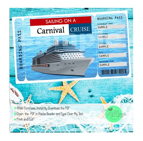 free printable cruise ticket template carnival cruise printable ticket boarding pass customizable