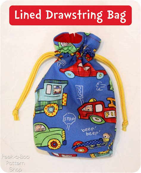 pattern lined drawstring bag lined drawstring bag tutorial peek a boo pages