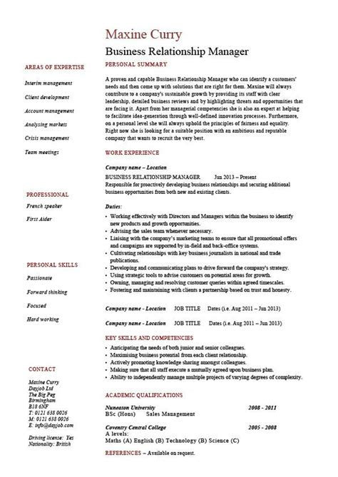 Sle Resume Banking Supervisor Client Relationship Manager Resume Sle 28 Images Sle Resume Business Relationship Manager