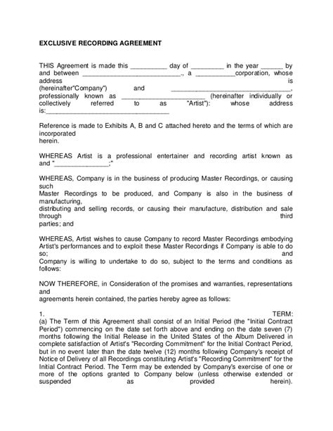 Artist Recording Contract 3 Exclusive Songwriter Agreement Template