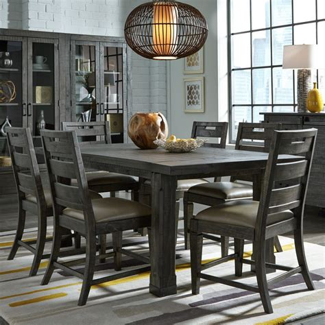 abington wood dining table in weathered charcoal humble