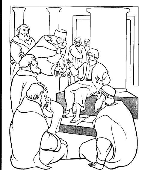 free coloring page jesus in the temple young jesus in the temple