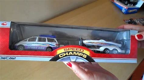 toy boat with trailer german dickie toys mini van and trailer with motorboat