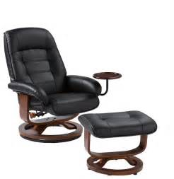 hemphill leather recliner and ottoman black