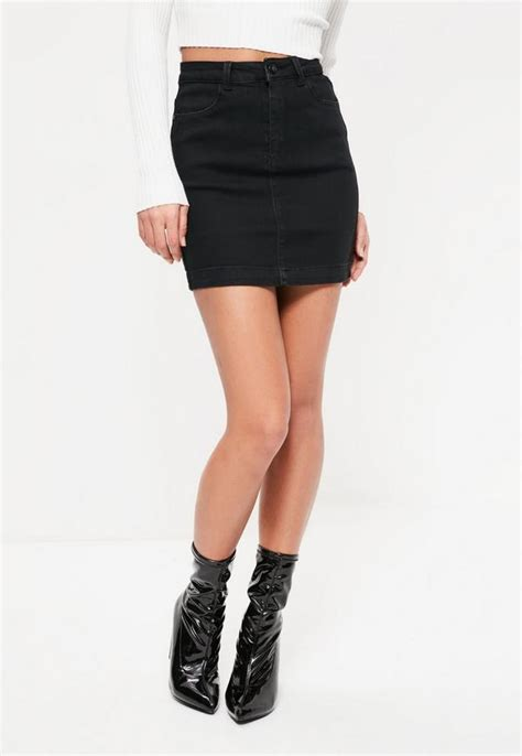 Mini Skirt denim stretch mini skirt black missguided