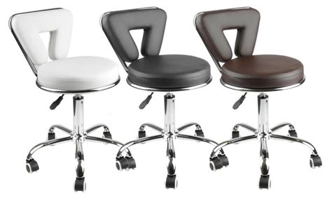Adjustable Rolling Stool With Back by Apontus Adjustable Rolling Salon Stool W Back Groupon