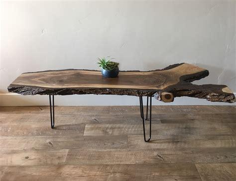 handmade black walnut live edge coffee table by wasatch