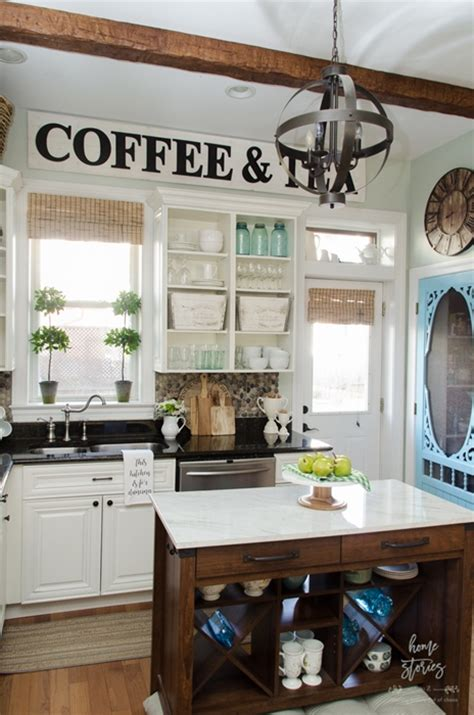 farmhouse spring island vignette thanksgiving kitchen open shelving ideas how to style town country living