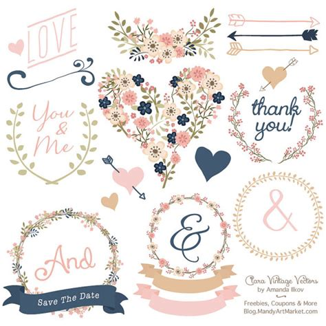 Navy Wedding Clipart by Premium Floral Clip Vectors Navy And Blush Wedding