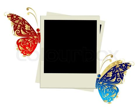 design my photo frame photo frame design with butterfly decoration stock